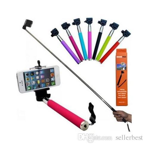Prezzo di fabbrica Bluetooth Handphone Shutter Monopiede portatile con autoscatto tenuto in mano con supporto clip iPhone 6 Samsung universale