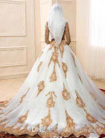 2018 Long Sleeve Gold Appliques Arabic Islamic Muslim Ball Gowns Wedding Dresses Illusion Bodice White Vestido De Novia