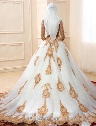 2018 Manches Longues Appliques Or Arabe Islamique Islamique Musulman Robes De Bal Robes De Mariée Illusion Corsage Blanc Robe De Novia