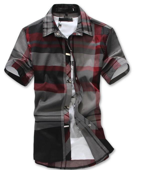 Best Tob Red Black Plaid Shirt Men Short Sleeve Camisa Masculina ...