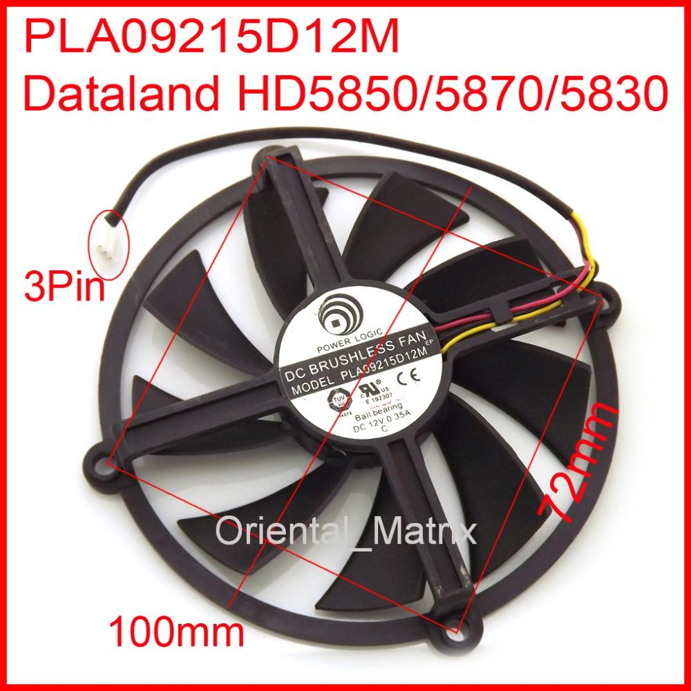 Wholesale- Free Shipping POWER LOGIC PLA09215D12M PLA09215D12H 12V 0.55A For Dataland HD5850 HD5870 HD5830 Graphics Card Cooling Fan