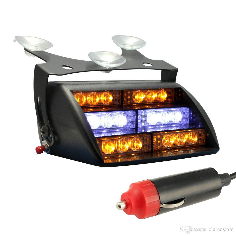 Car LED Emergency Lights 12V chuck LED Flash Lights 18 LEDS with Retail package DHL