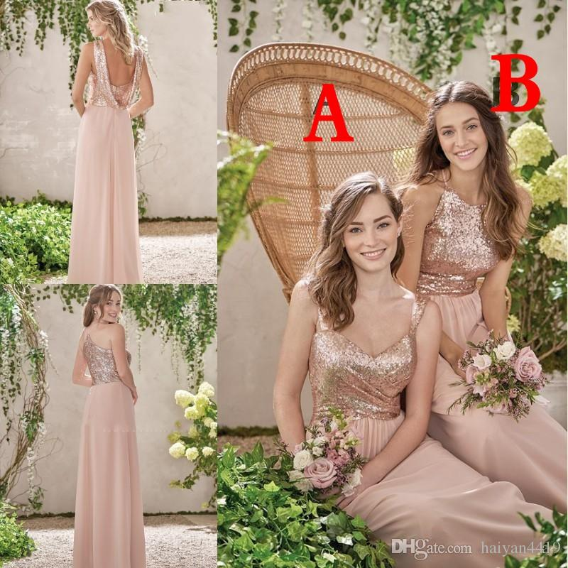 Goedkope rose gouden bruidsmeisje jurken een lijn spaghetti backless pailletten chiffon goedkope lange strand bruiloft windjurk meid van eer jurken