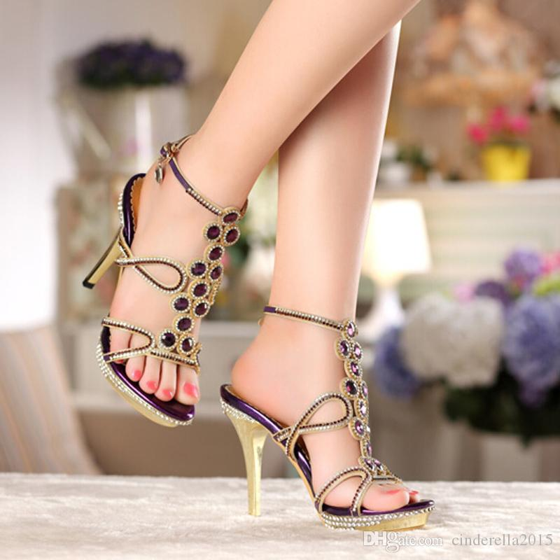 New Model Fashion Women Party Prom High Heel Sandals Rhinestone Wedding Dress Shoes Genuine Leather Female Purple Summer Shoes