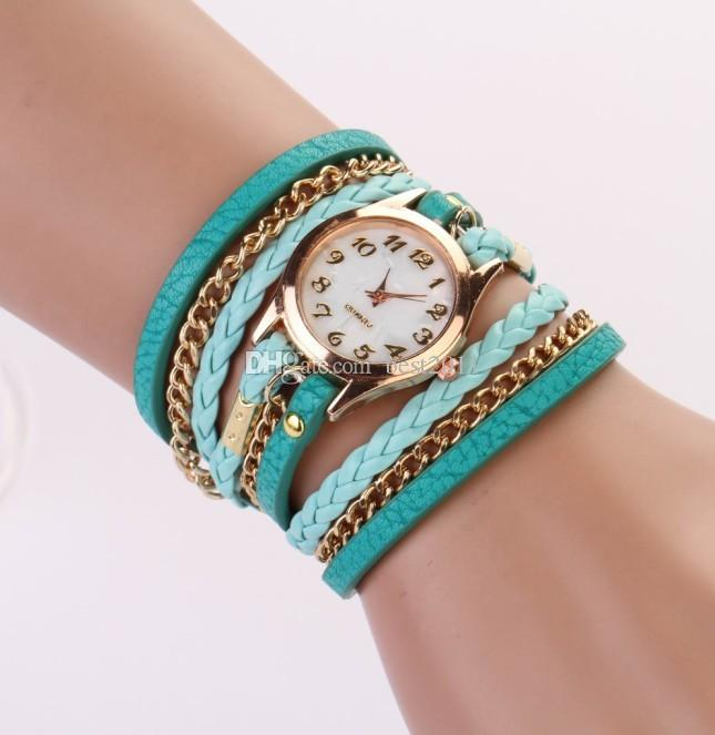 4b32f9470 2014 New Women Girls Ladies Graceful Lovely Metal Punk Chain Bracelet Watch  Artificial Leather Quartz Wholesale Wristwatches Expensive Watches Watches  ...