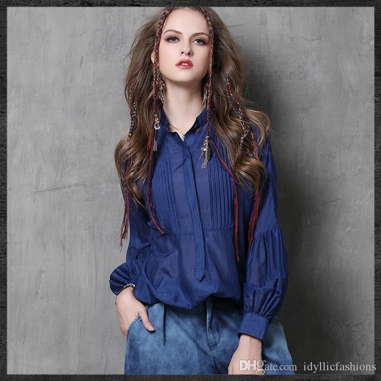 f4caae55d8780 Women s Autumn Lapel Neck Lantern Sleeve Long Sleeve Vintage Slim Mulberry  Silk Shirts