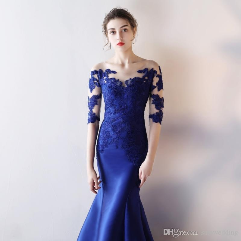 Lace Satin Mermaid Evening Dresses With Half Sleeves Royal Blue 2019 Scoop Neck Long Formal Dresses