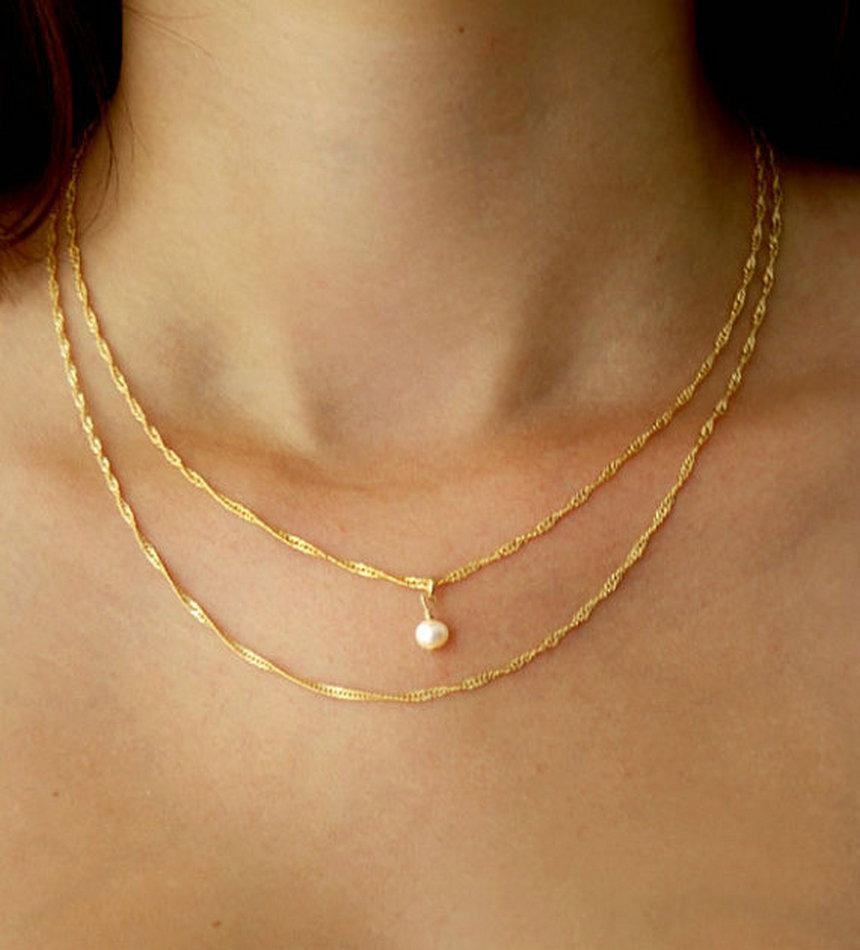 2017 Delicate Gold And Pearl Chain Necklace 16in Necklace 14k Gold Filled  Small White Freshwater Pearls Gold Chain From Runjiangseller, $4825   Dhgate