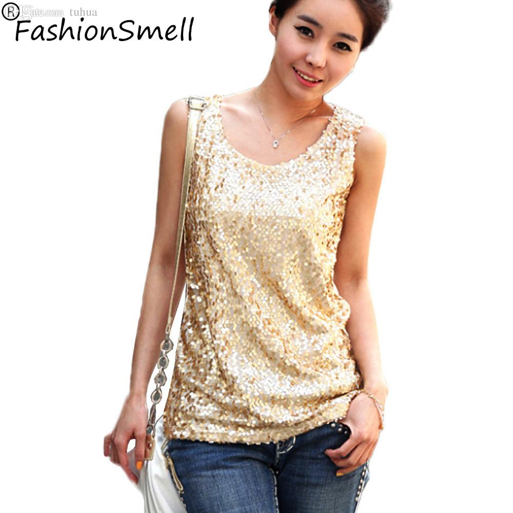99eb6c3c4e93d5 2019 Wholesale Women Shiny Sequin Vest Bling Top Mesh Tank Sleeveless Blouse  Lady T Shirt Sexy Tee Casual Golden Blusas Femininas From Tuhua, ...