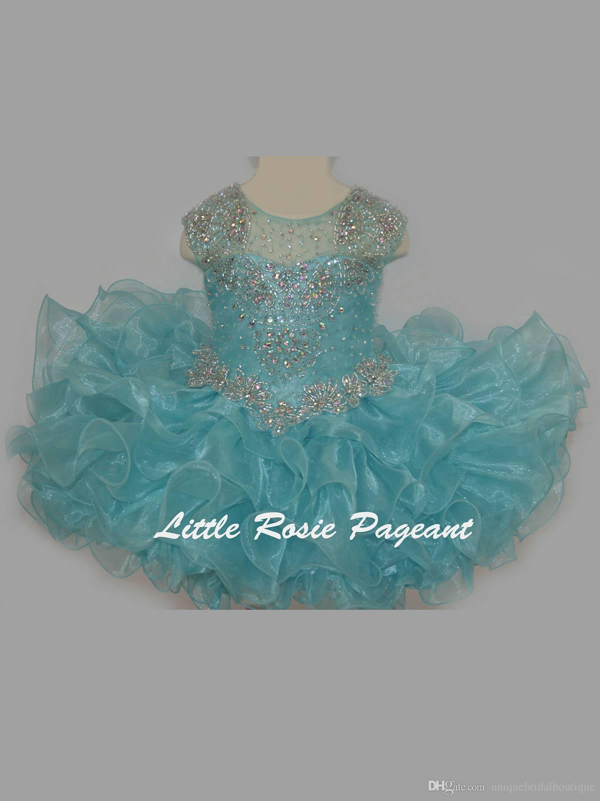 Bling Bling Little Rosie Baby Girls Pageant Dresses BR1312 Ruffles Skirt Aqua Cupcake Glitz Toddler Pageant Gowns with Cap Sleeves