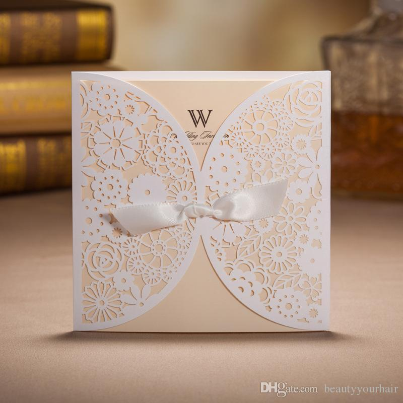 white wedding invitations hollow foil stamping uneven ribbon wedding