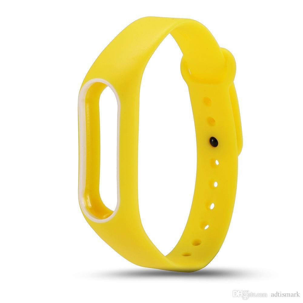 الجملة الملونة سيليكون رباط المعصم سوار مزدوج اللون استبدال watchband ل Miband الأصلي 2 Xiaomi Mi الفرقة 2 الأساور