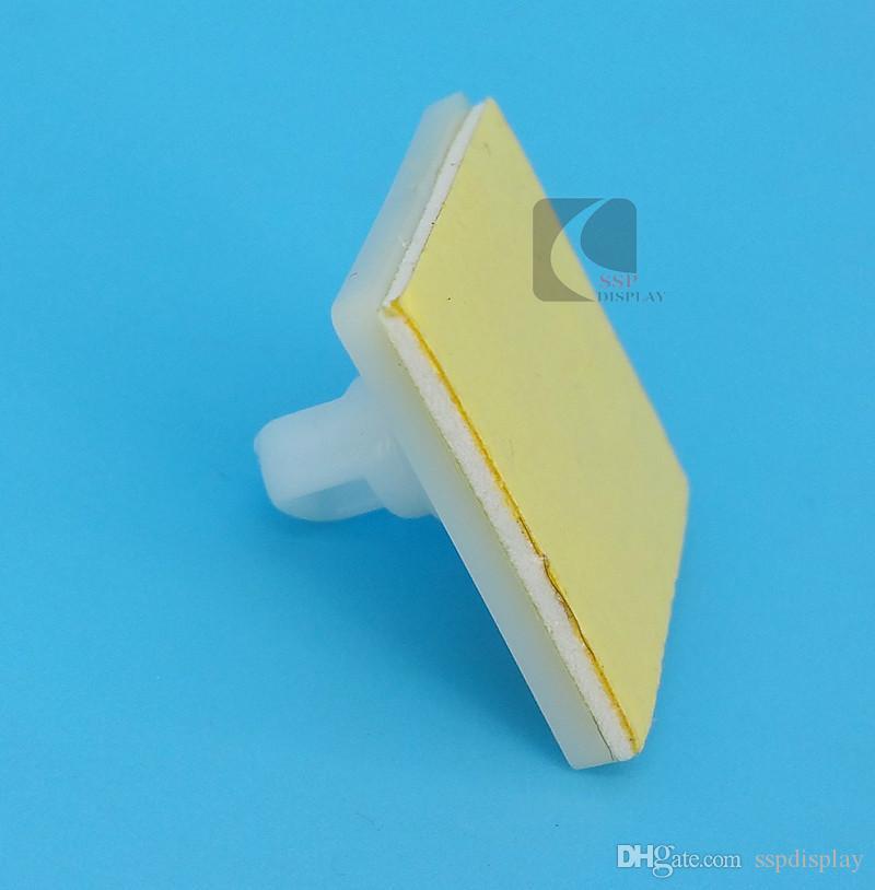 Exhibición plástica de la muestra del POP por la base cuadrada golpecito adhesivo fuerte con el anillo de la ejecución en tienda al por menor del techo buena calidad