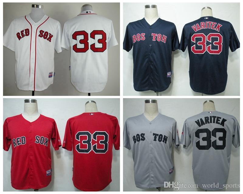 178883a6 ... boston red sox 33 varitek grey white red navy blue mens baseball jerseys