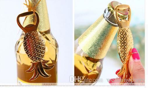 Freies Verschiffen 100 teile / los Gold Tropical Ananas Flaschenöffner Strand Braut Hochzeit Gefälligkeiten Souvenir Geschenke Event Party Supplies