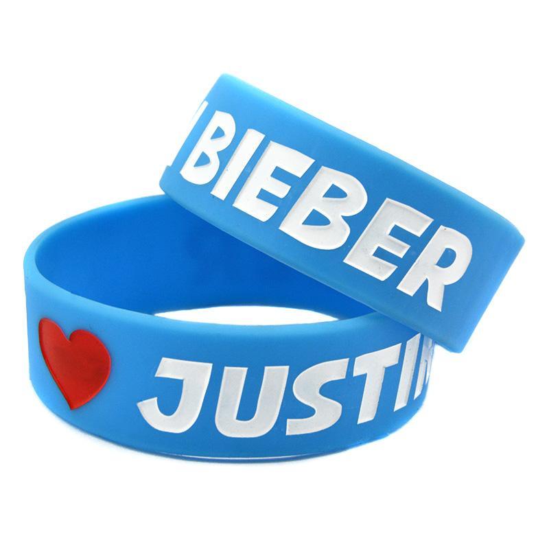 Je aime Justin Bieber 1 pouce de large Bracelet caoutchouc silicone Taille adulte pour les fans de musique