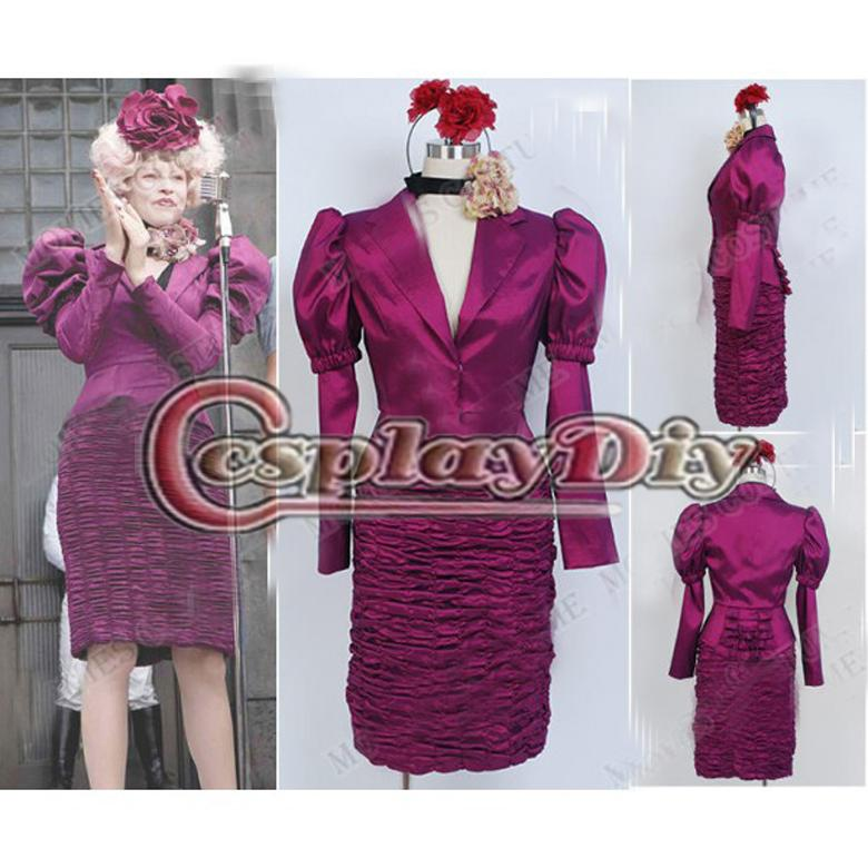 custom made the hunger games effie trinket purple dress outfit costume adult womens halloween costume fancy dress children costumes buy halloween costumes