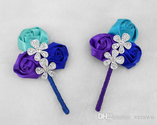 Hot Sale Handmade Wedding Corsage Wedding Celebration Groom Suit Flower Satin Rose With Crystal Pearls New Bridegroom Boutonniere Cheap