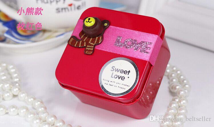 Korean Style Cute Lovely TEDDY BEAR Tin Candy Favors Holders wedding gift boxes sweet box baby shower candy boxes to choose
