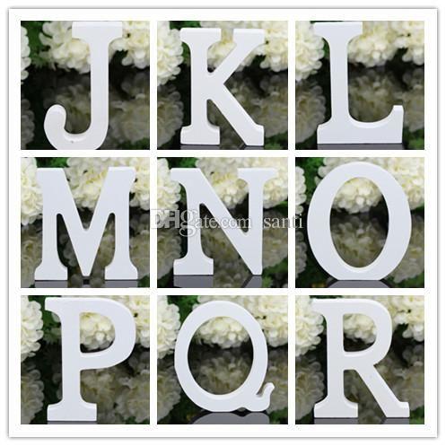 Home Decor Decoration thick Wood Wooden White Letters Alphabet Wedding Birthday 8cmX1.2cm