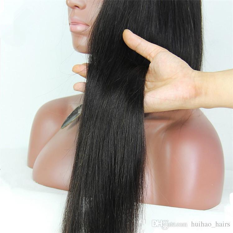 8A Indien Péruvien Dentelle Perruque Avant Perruque de Cheveux Humains Droite Naturel Noir Couleur Perruques Naturelles À La Recherche Avec Le Meilleur Prix