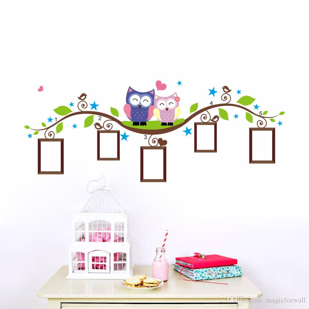 Cute Owls onTree Branch Wall Art Sticker Decor Decal Heart Star Birds around Tree Nature View Mural Sticker Wall Picture Decoration Graphic