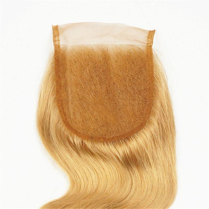 Großhandelspreis-Spitzeschließung Billig reines Haar brasilianisches Menschenhaar Qualität Honig blonde # 27 Mitte frei drei Teil 4 * 4 Spitze Schließung