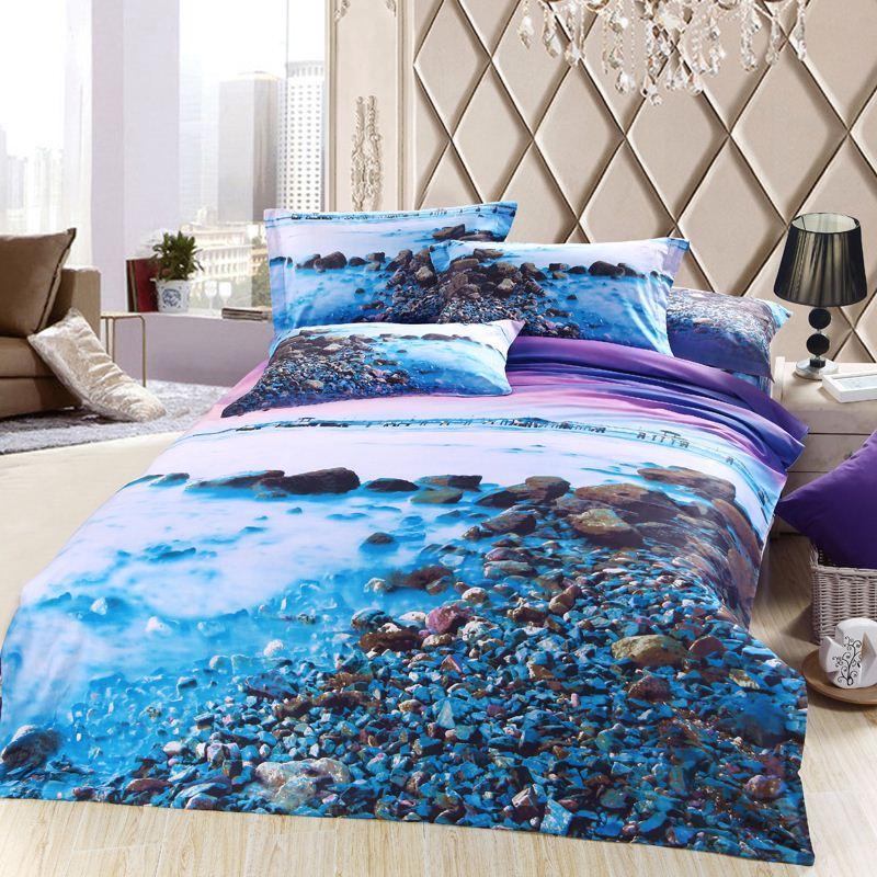 3d Blue Purple Sea Beach Bedding Sets Queen Size Cotton Bed Sheet Quilt  Duvet Cover Designer Bedset Bedspreads Bedsheet Linens Bedroom Comforters  Retro. 3d Blue Purple Sea Beach Bedding Sets Queen Size Cotton Bed Sheet