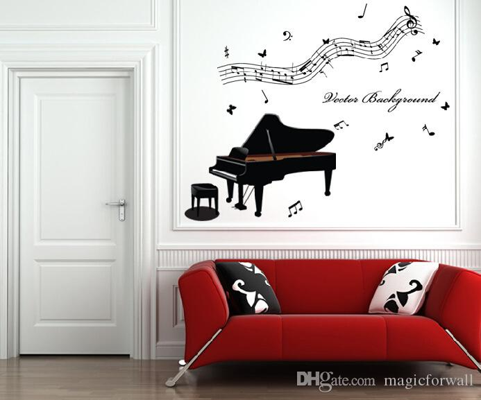 Music Forever Piano Wall Art Mural Poster Decor Musical Note Home Decoration Wallpaper Graphic Piano Room Living Room Decal Sticker