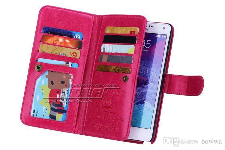 9 titulares de tarjetas multifunción billetera PU funda de cuero para Samsung Galaxy Note 4 N9100 S5 desmontable caja del teléfono contraportada billetera