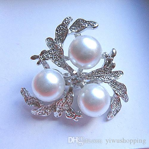 ! Top Jewelry Wholesale Silver Tone Alloy Rhinestone Crystal and Faux Cream Pearl Brooch