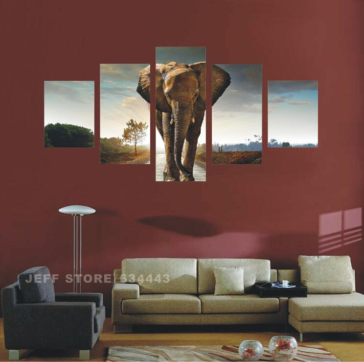 Home Decorating 5 Panels Canvas Elephant Wall Art Picture