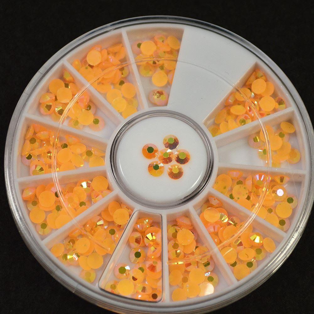 retail 4mm orange new arrival fruit colors rhinestones 3d nail art