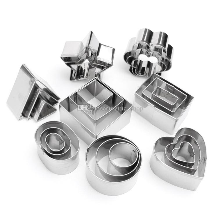 Stainless Steel Cookie Cutters set star bisuit mold Biscuit Cutter Geometric cake slicer for Baking fondant Dessert Design tool CCS01