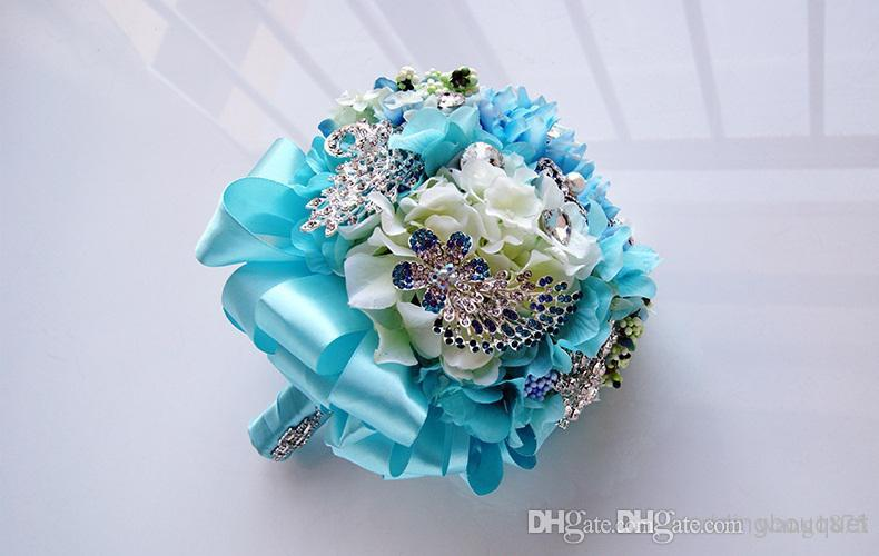 Simulation silk flower bride turquoise wedding bouquet colorful simulation silk flower bride turquoise wedding bouquet colorful brooch bouquet april wedding flowers artificial flower bouquet from wang1875 mightylinksfo