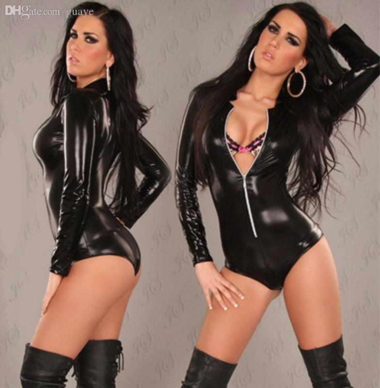 The Sexy girls black leather body suits
