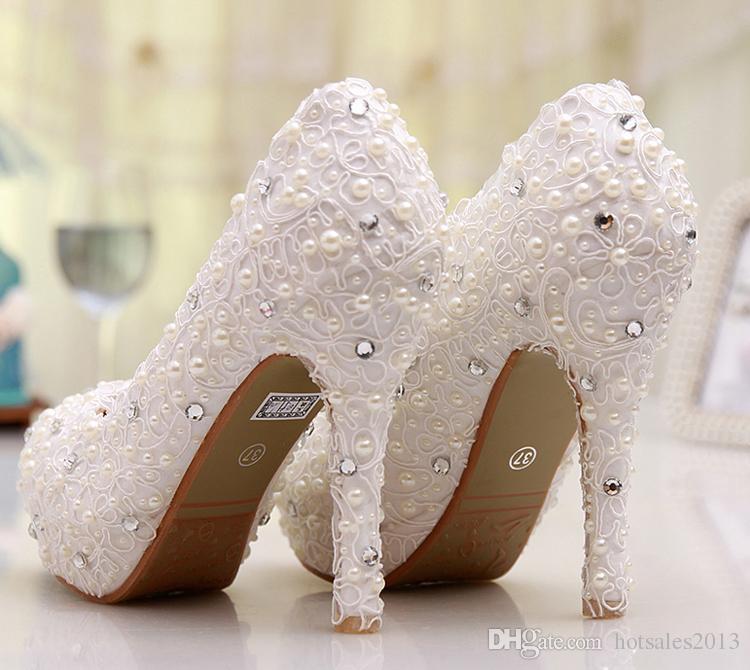 白いレースの花のウェディングドレスの靴の花嫁介添人の靴ブライダルシューズ宴会イブニングパーティープロムプリンセスシューズロー/中/ハイヒール