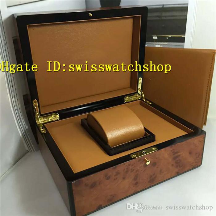 Marca de luxo FM Peixe de grão de avestruz Caixa de relogio original Caixa de relógios para homens e mulheres Caixas de presente vem com Tag Certificado Cartões Livros