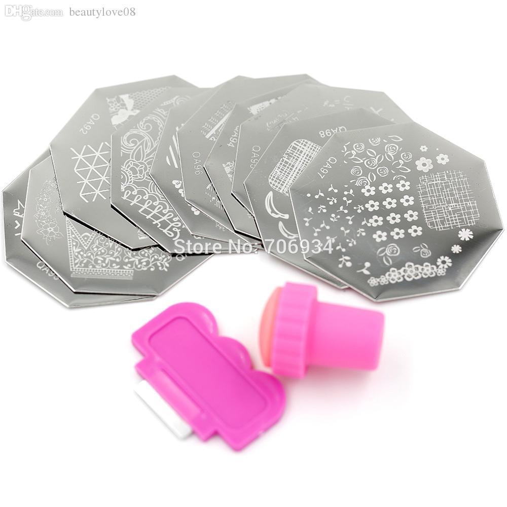 Wholesale-QA Nail Stamping Plates Kits Octagon Template Plates ...