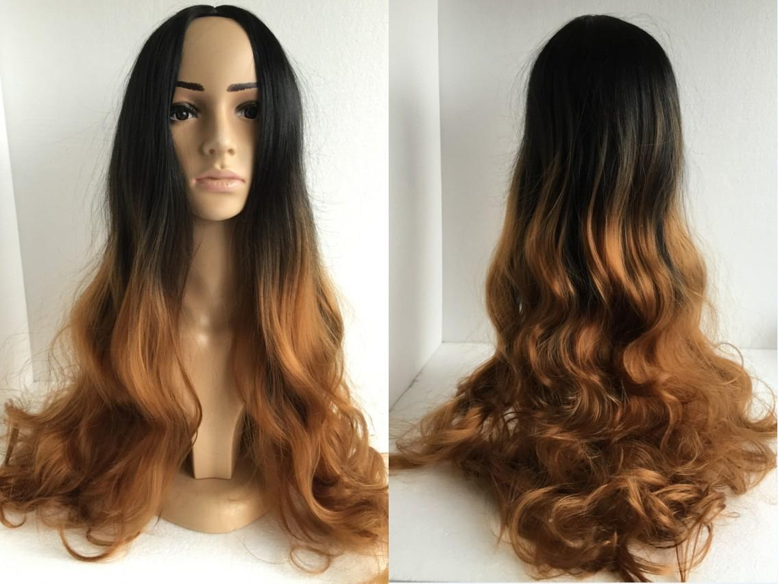 Two Color Hair Styles: Two Tone Color Ombre Black Root To Brown Hair Hand Woven