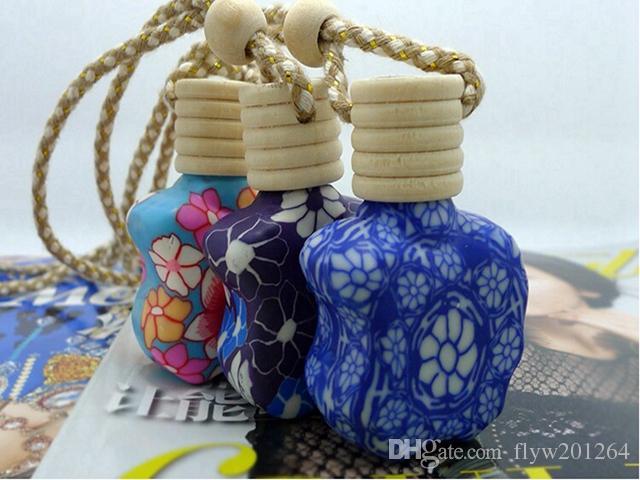 Livraison gratuite 15ML voiture accrocher décoration en céramique essence bouteille de parfum accrocher la corde pendentif bouteille vide, /