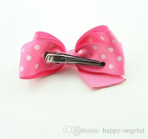10 sztuk Akcesoria do włosów Dziewczyny Baby Hair Bow Grosgrain Wstążka Łęk Fryzjer Spotty Kolorowe Z Klipsem HD3301