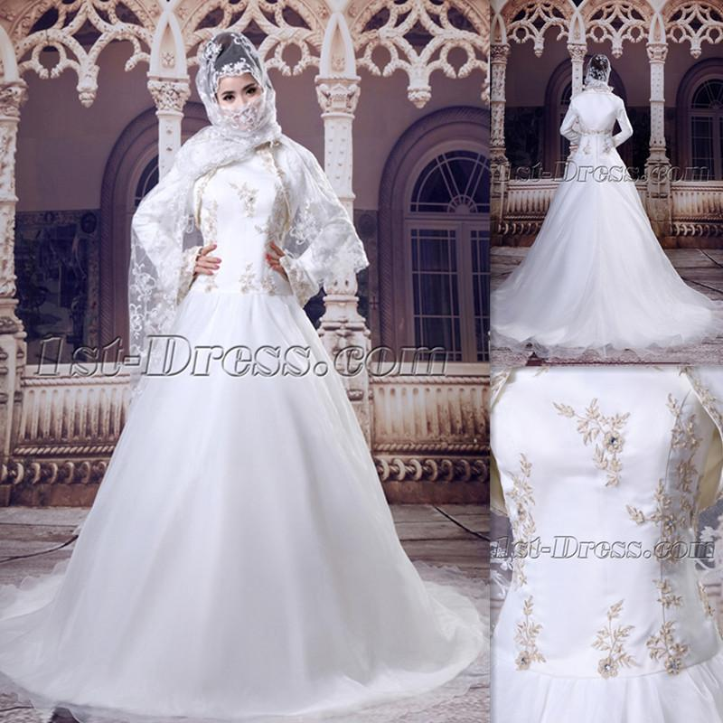 Discount Muslim High Neck White Wedding Dresses A Line Long Sleeve