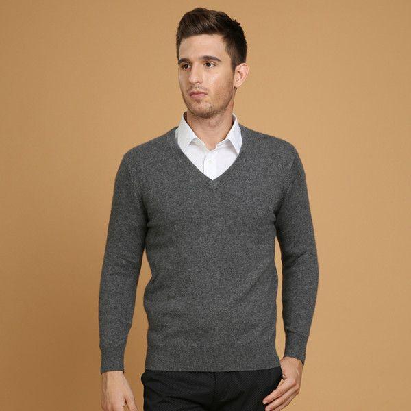 2018 Dark Gray V Neck Pure Cashmere Sweater For Men 2015 Winter ...