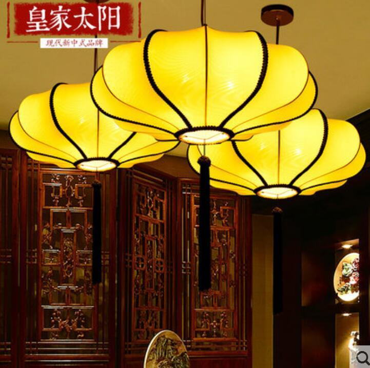 Discount Modern New Chinese Style Droplight Hand Painted Cloth Art