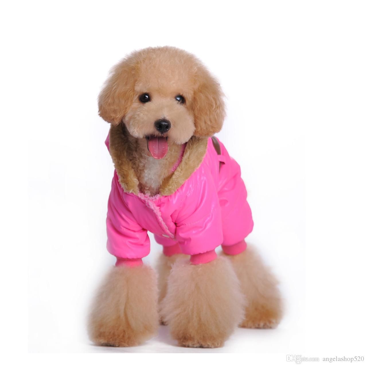 Vêtements pour chien de nouvelle mode Seal empreinte pour chien vêtements automne automne hiver veste manteau pour animaux de compagnie de couleur rose et bleue