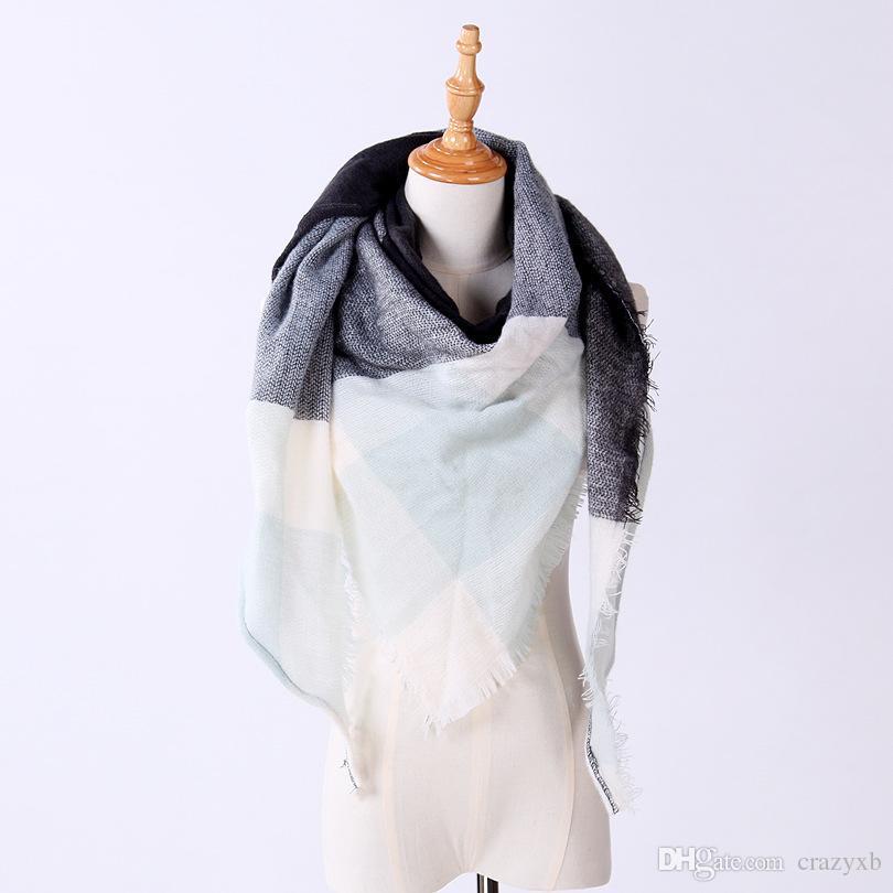 Compre De Moda Bufanda De Invierno Para Las Mujeres Bufanda De Cachemira  Caliente A Cuadros Pashmina Bufanda De La Marca De Lujo Mantas Wraps Bufandas  Y ... 82ddb88e0b6