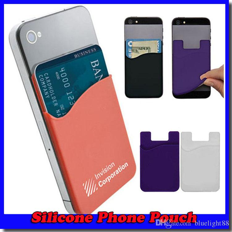 on sale 8175d 3059b 3M Sticky Phone Wallet Silicone Self Adhesive Card Pocket Covers Colorful  Credit Card Holder Wallet Smart Silicone Phone Pouch