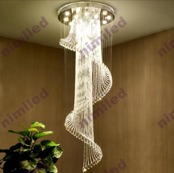 nimi Dia 40/50/60/70/80/100cm Modern Duplex Stairs Spiral Staircase Chandelier Lamp Villa House Floor Living Room Crystal Droplight Lighting