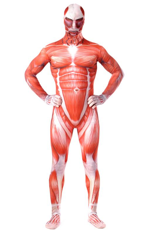 attack on titan amazing super muscles sir marvel licensed morph suit costume cosplay zentai factory high quality custom - Halloween Muscle